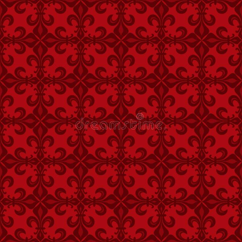 Cordón-de-Luce Lace de lirios, modelo inconsútil rojo libre illustration