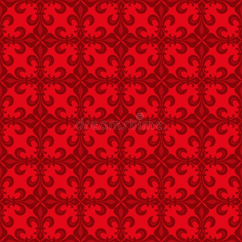 Cordón-de-Luce Lace de lirios, modelo inconsútil rojo stock de ilustración