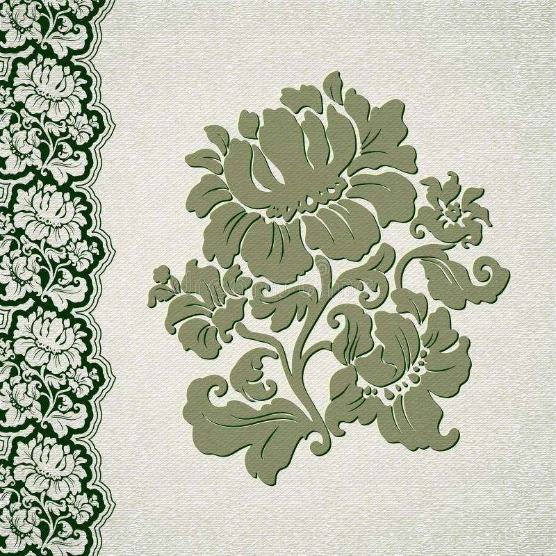 Cordón del vintage de la flor y de la frontera ilustración del vector