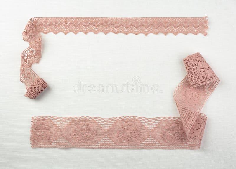 Cordón en tela de lino natural fotos de archivo libres de regalías