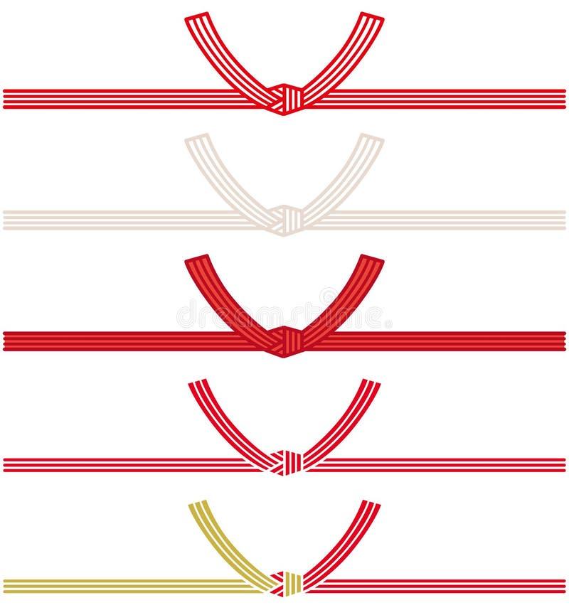 Cordón japonés decorativo hecho del papel torcido stock de ilustración