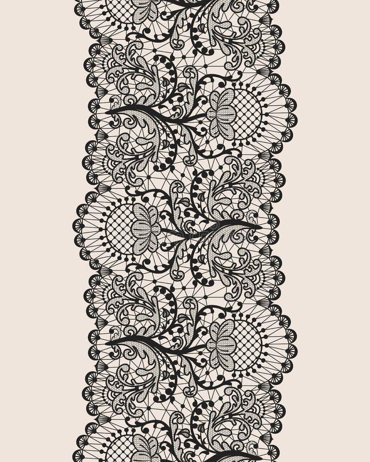 Cordón negro inconsútil stock de ilustración