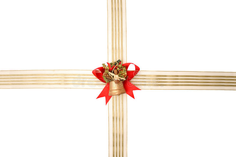 Cordón rojo, cinta de oro y campana foto de archivo libre de regalías