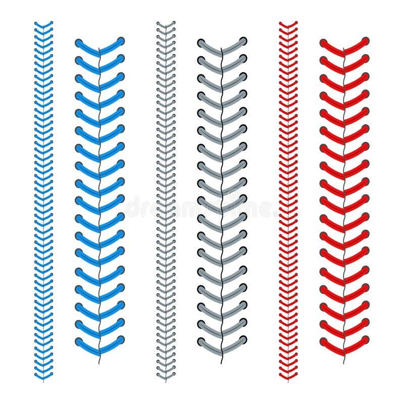 Cordón rojo y azul de un sistema del béisbol Vector libre illustration