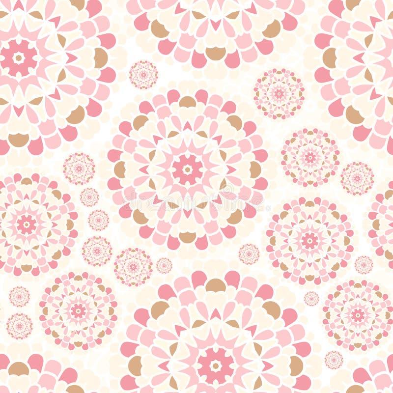Cordón rosado Modelo rosado inconsútil Fondo de la circular de la flor Brotes brillantes ilustración del vector