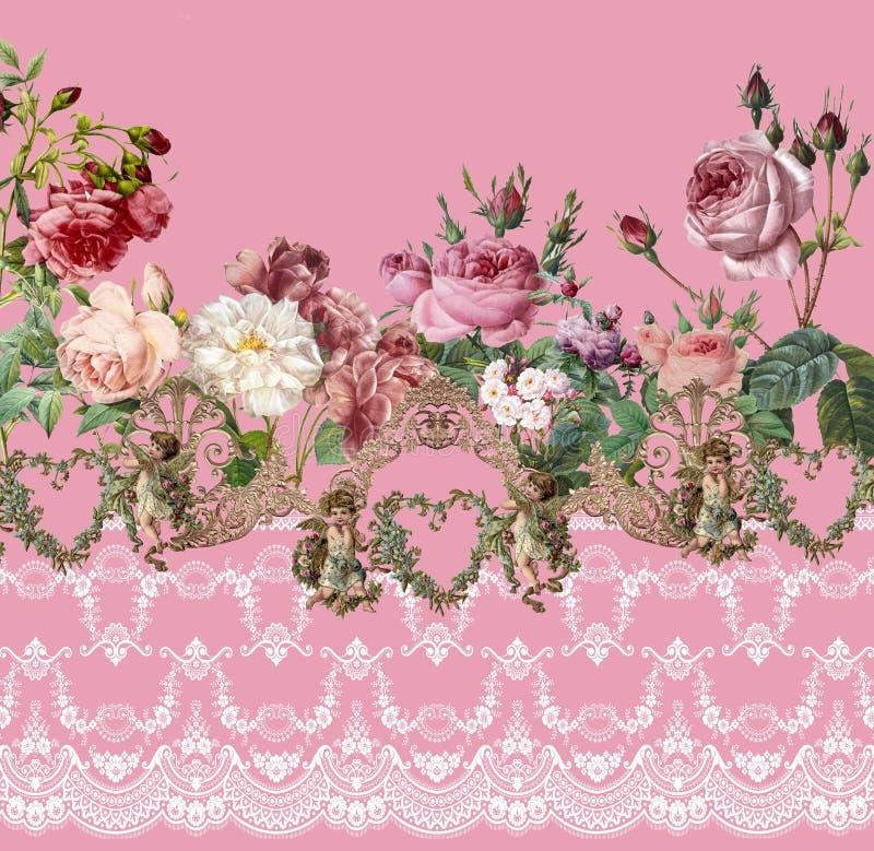 Cordón rosado romántico de rosas de las flores del jardín foto de archivo