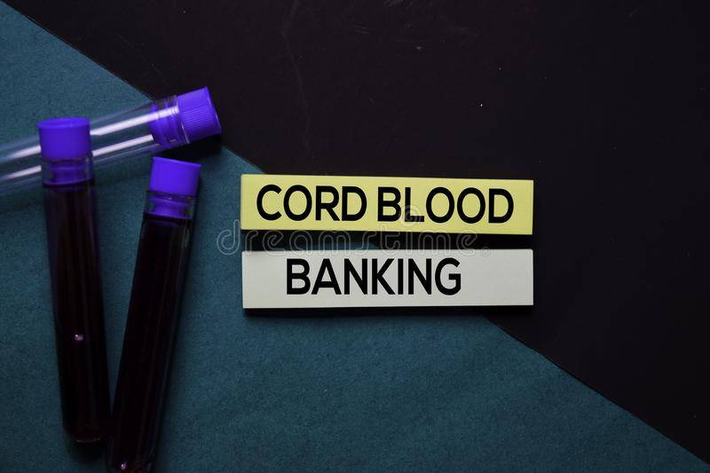 Cord Blood Banking text on sticky notes. Office desk background. Medical or Healthcare concept royalty free stock photos