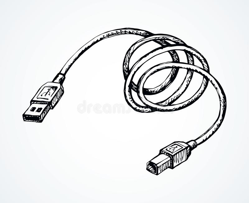 Cord for charging the phone. Vector drawing vector illustration