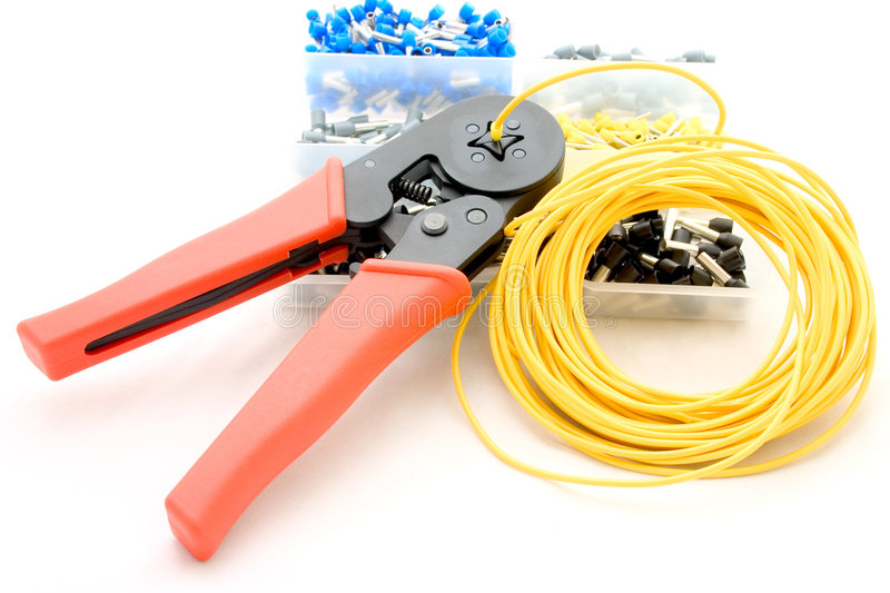 Cord-end terminals with crimping tool stock images