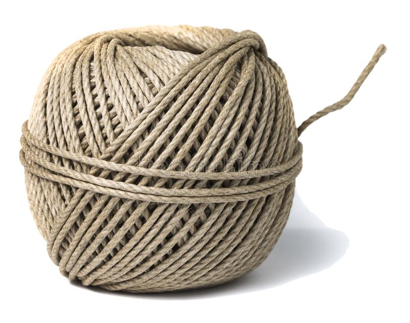 Cord skein, hemp roll, linen cord natural ball, isolated on white royalty free stock image