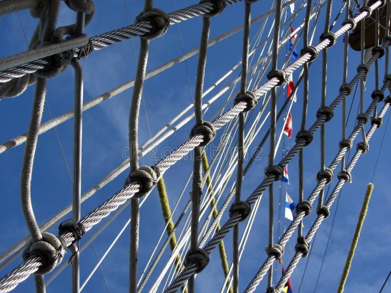Corda alta di sartiame della nave fotografia stock libera da diritti