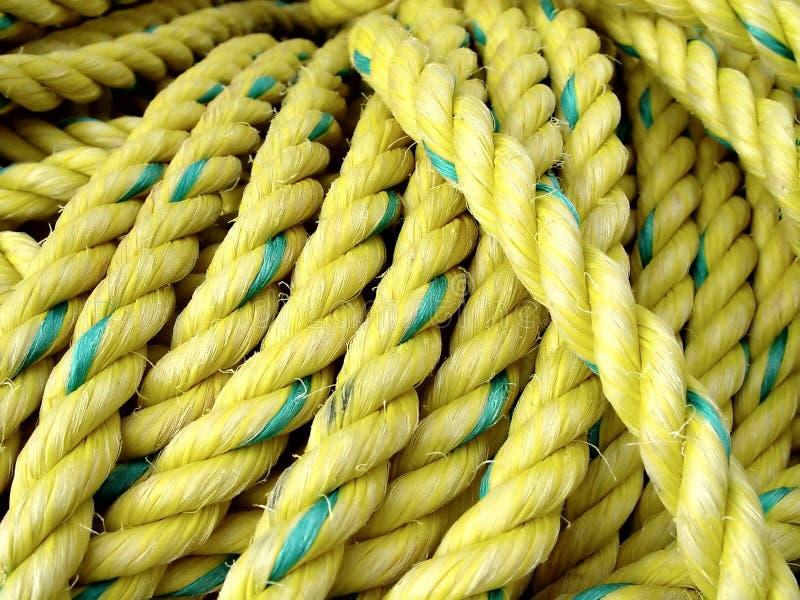 Corda amarela da pesca imagens de stock