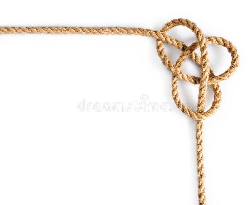 Corda con il nodo del marinaio legato fotografia stock libera da diritti