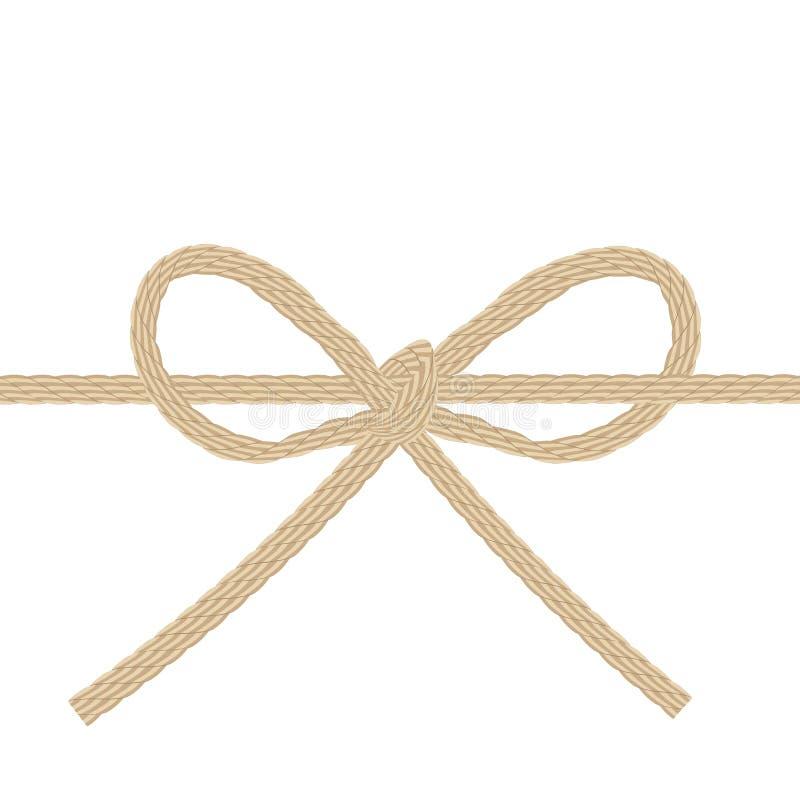 Corda da guita amarrada em uma curva isolada ilustração stock