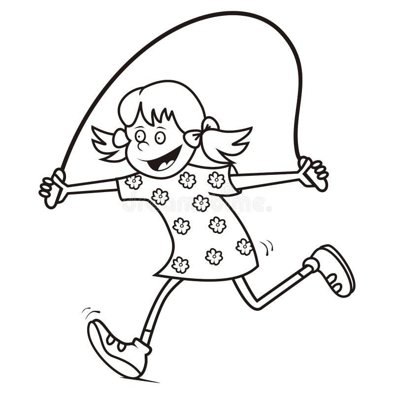 Corda da menina e de salto, colorindo ilustração do vetor