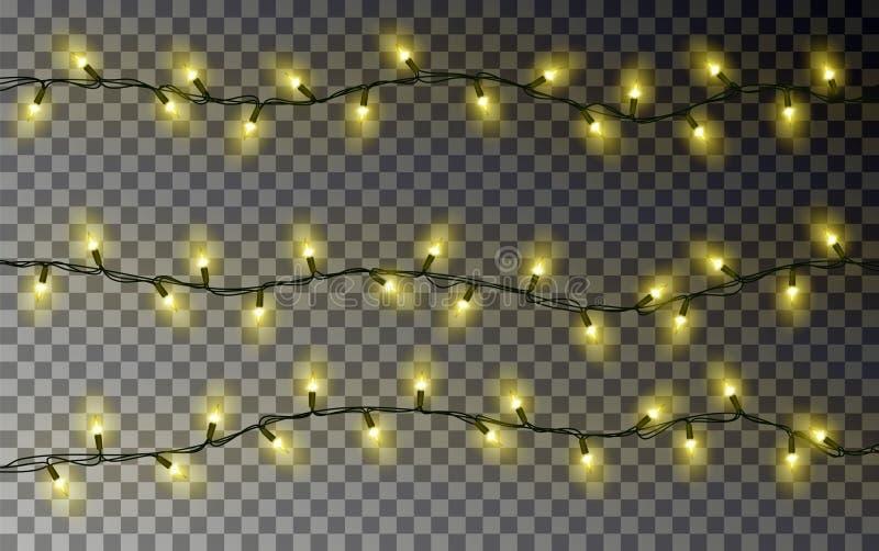 Corda das luzes amarelas do Natal Decoração transparente do efeito isolada no fundo escuro realístico ilustração do vetor