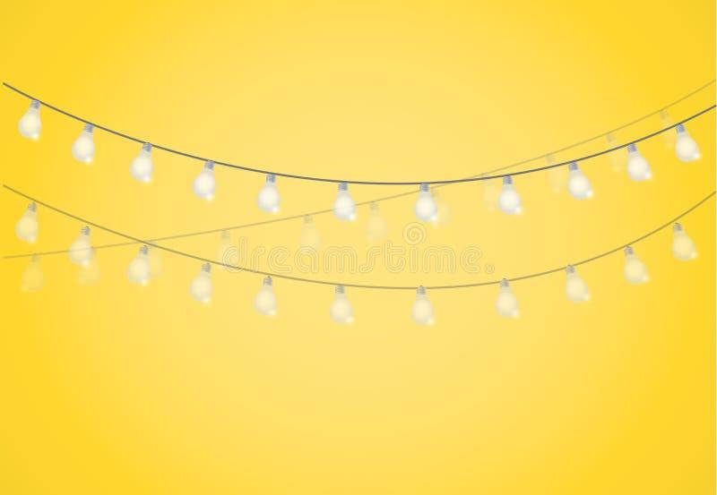 Corda das luzes Ampolas de suspensão ilustração royalty free