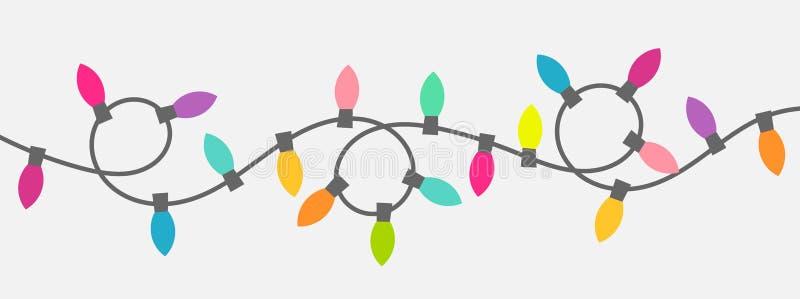 Corda das luzes de Natal ilustração do vetor