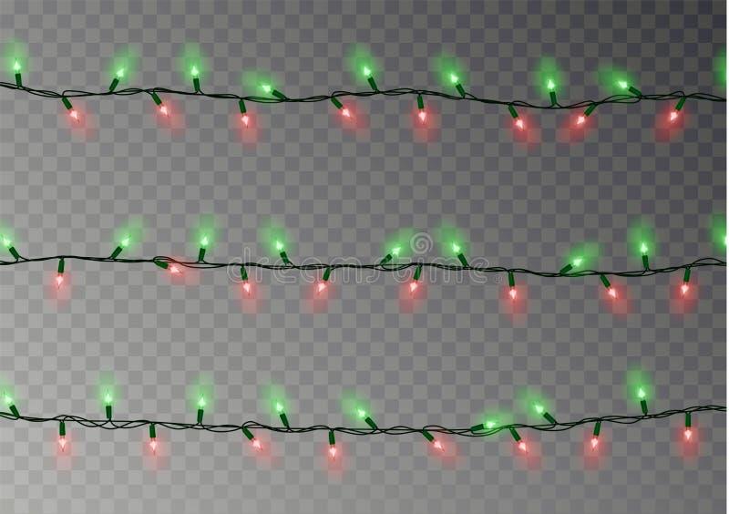 Corda das luzes de Natal isolada Decoração realística da festão Elementos festivos do projeto Lig de incandescência ilustração do vetor