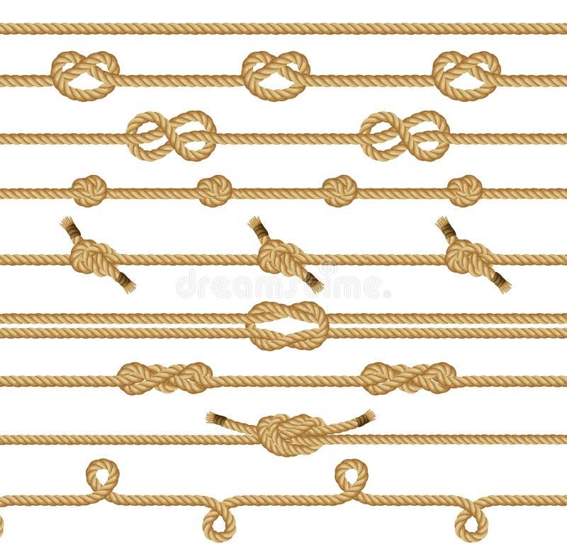 A corda de Brown ata a coleção Elementos gráficos decorativos isolados em um fundo branco Ilustração do vetor ilustração royalty free