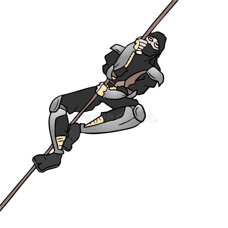 Corda de escalada de Ninja ilustração royalty free