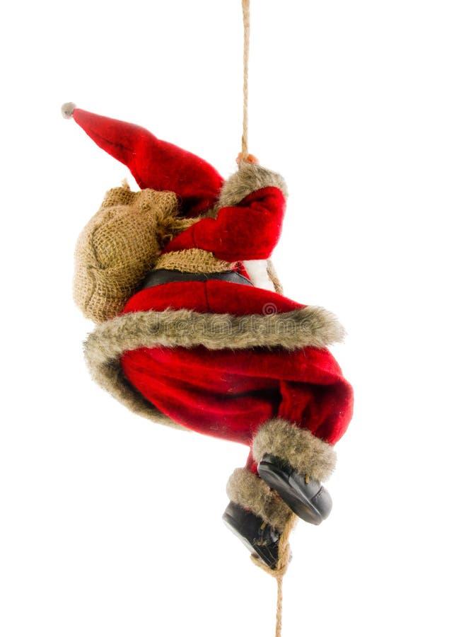 Corda de escalada de Papai Noel foto de stock royalty free