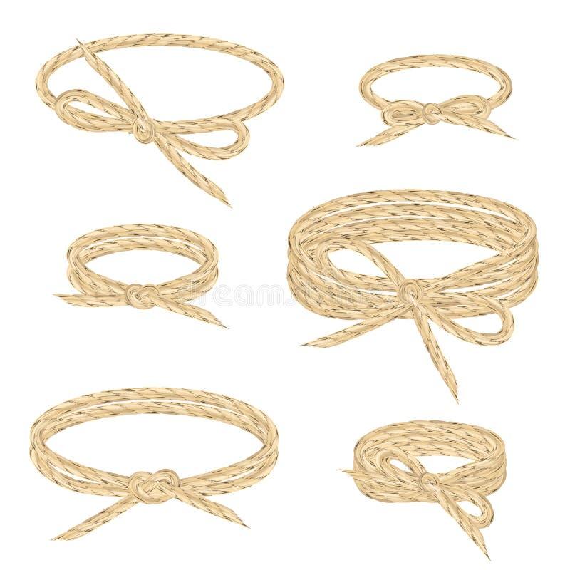 A corda de linho enrola acima o grupo do estilo do envoltório Guita nos círculos com curvas ilustração stock