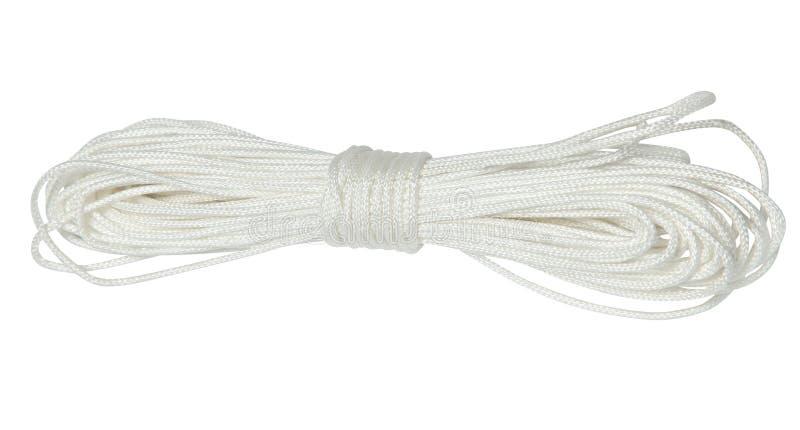 Corda de nylon branca isolada no fundo branco foto de stock royalty free