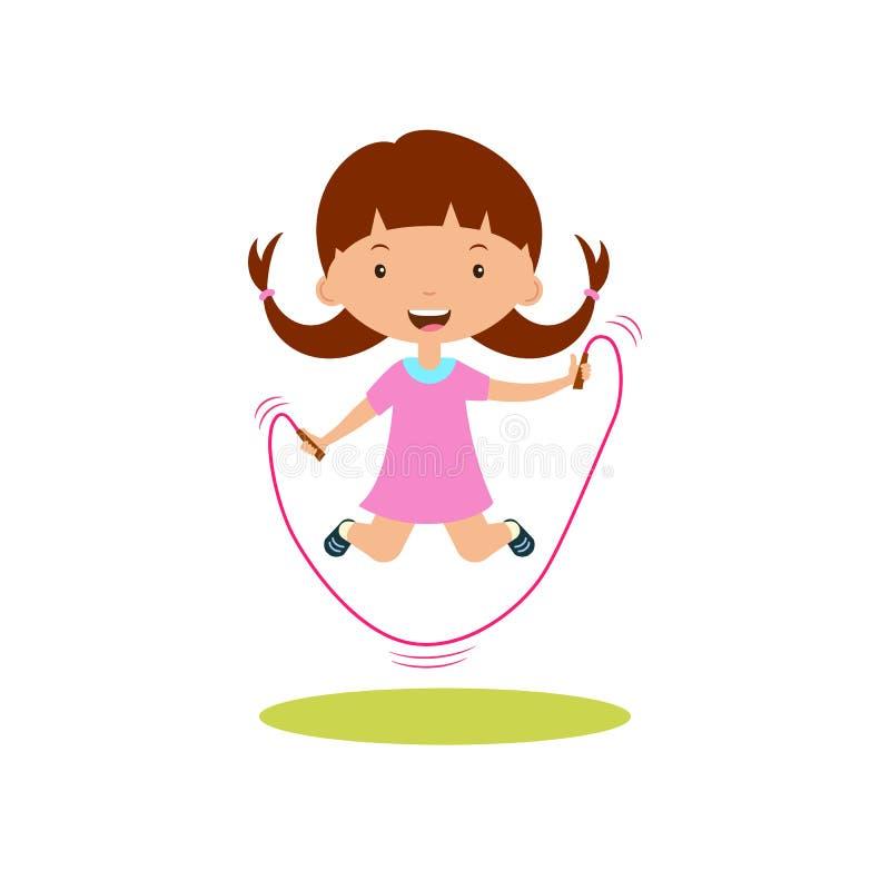 Corda de salto bonito da menina dos desenhos animados ilustração do vetor