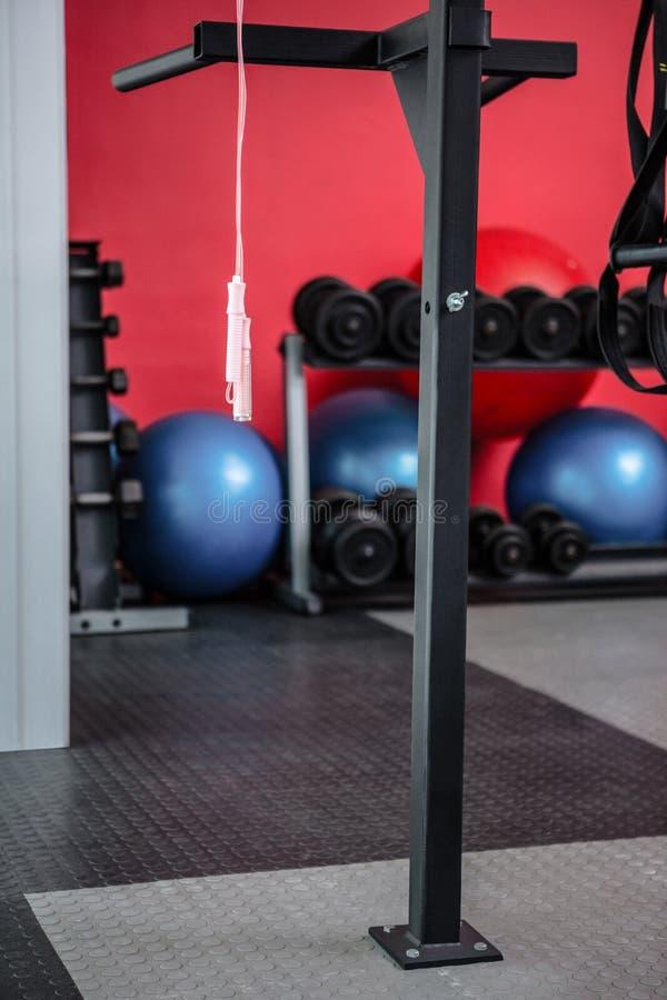 Corda de salto de suspensão com bolas e pesos do exercício atrás deles imagem de stock royalty free