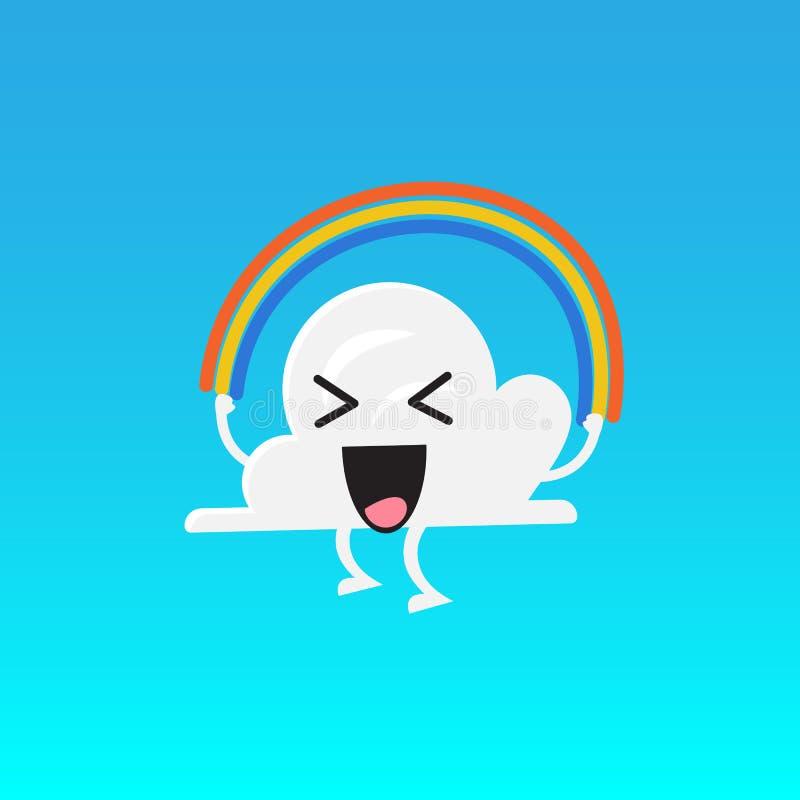 Corda de salto do arco-íris do emoji do caráter da nuvem ilustração stock
