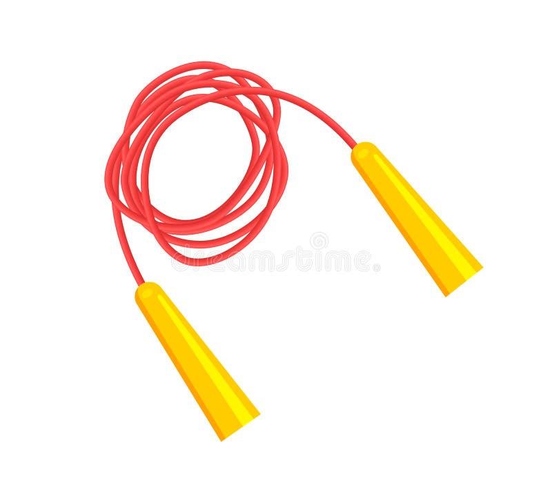 Corda de salto vermelha longa com os punhos amarelos brilhantes ilustração do vetor