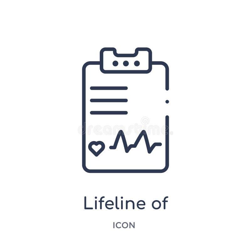 Corda de salvamento linear das pulsação do coração em um papel em um ícone da prancheta da coleção médica do esboço Linha fina co ilustração do vetor