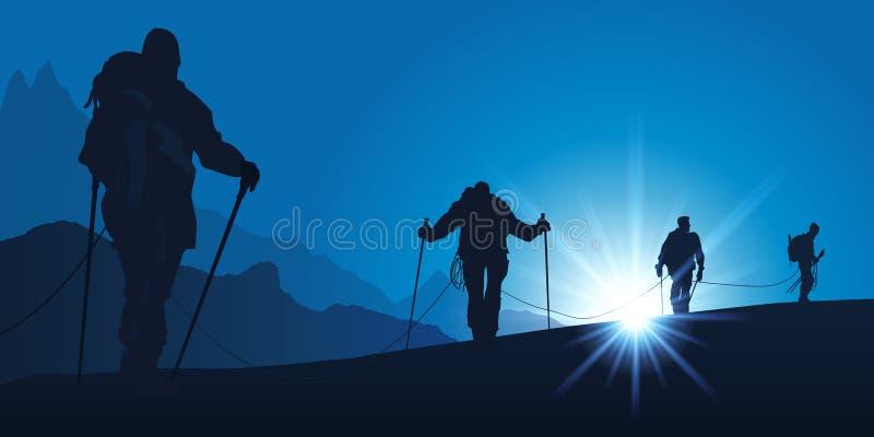 Corda degli alpinisti che scalano una montagna illustrazione di stock