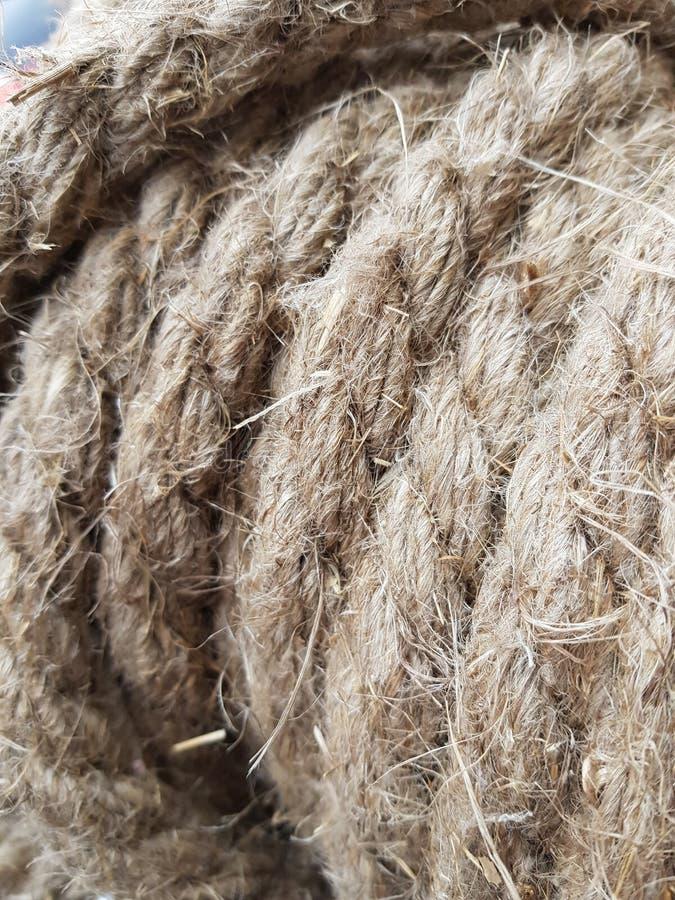 Corda del lino dalle fibre lunghe del lino per la decorazione domestica fotografia stock libera da diritti