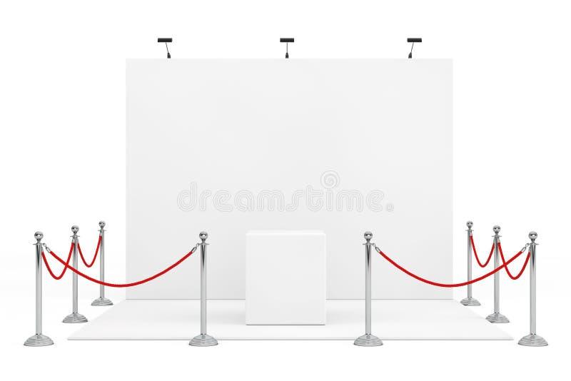 Corda della barriera intorno alla cabina della fiera commerciale con il supporto vuoto 3d rendono royalty illustrazione gratis