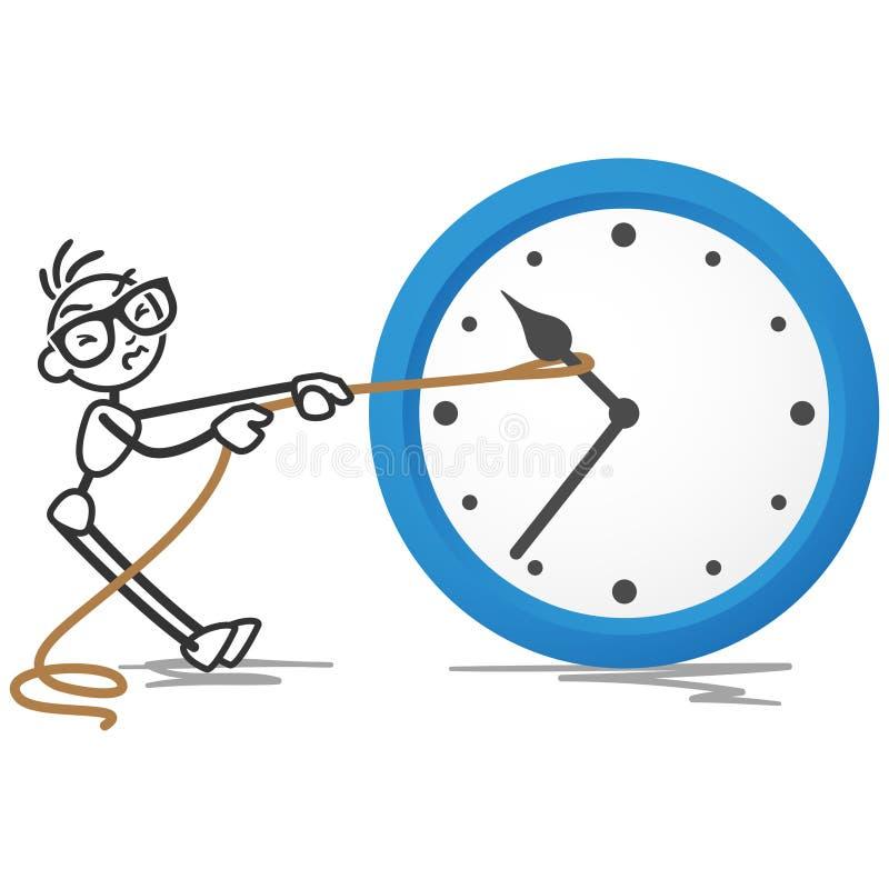 Corda di tempo di completamento dell'orologio di Stickman royalty illustrazione gratis
