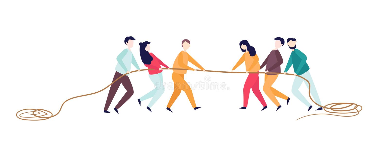 Corda di tirata emozionante della donna dell'uomo Concorrenza di conflitto fra due gruppi Concetto di attività di sport per gli a illustrazione vettoriale