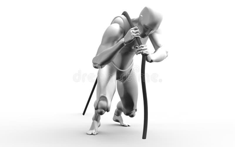 Corda di tirata umana bianca tridimensionale illustrazione vettoriale