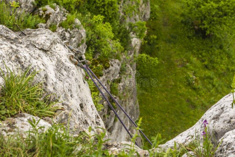 Corda dinâmica suspendida travando carabiners fotos de stock royalty free