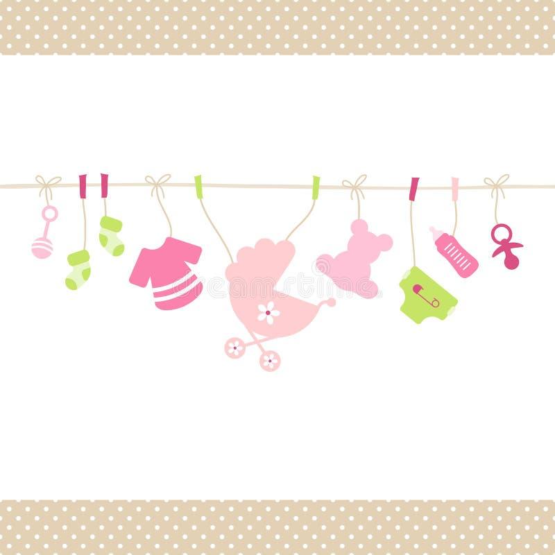 Corda diritta d'attaccatura Dots Border Beige delle icone della neonata royalty illustrazione gratis