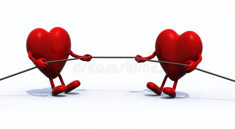 Corda do conflito de dois corações ilustração stock