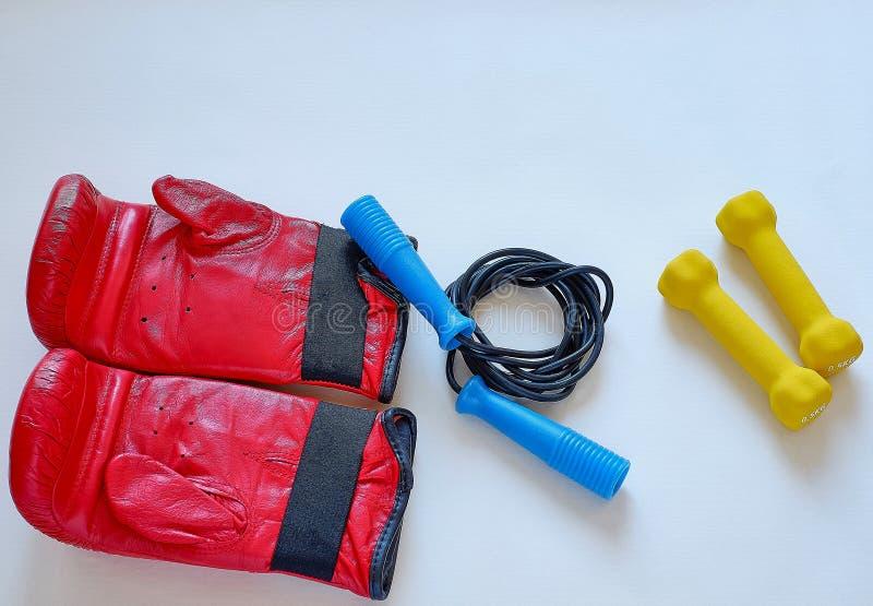Corda e pesos de salto das luvas para o atleta do pugilista imagens de stock royalty free