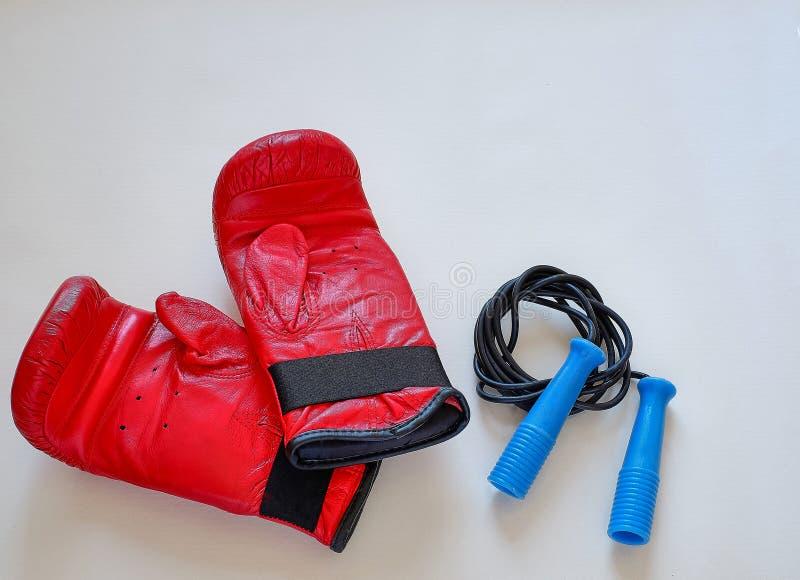 Corda e pesos de salto das luvas para o atleta do pugilista fotos de stock royalty free