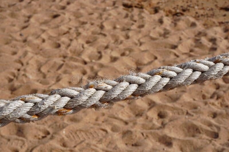 Corda naturale spessa sui precedenti della sabbia immagine stock libera da diritti