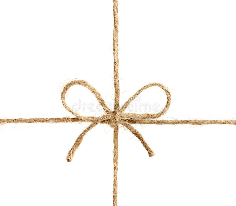 Corda ou guita amarrada em uma curva isolada no branco foto de stock royalty free