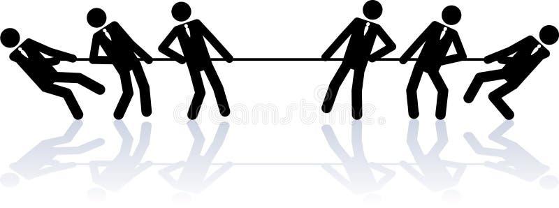 Corda que puxa executivos ilustração stock