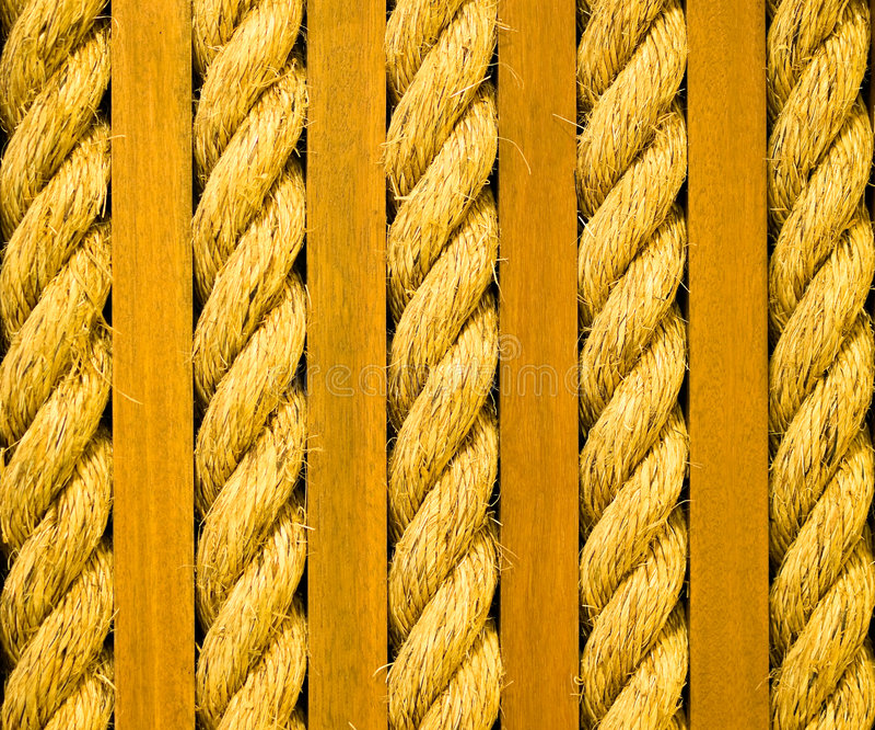Corda torcida e pranchas de madeira foto de stock