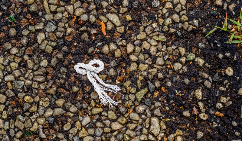 Cordage shaped like an octopus on a tar surface stock images