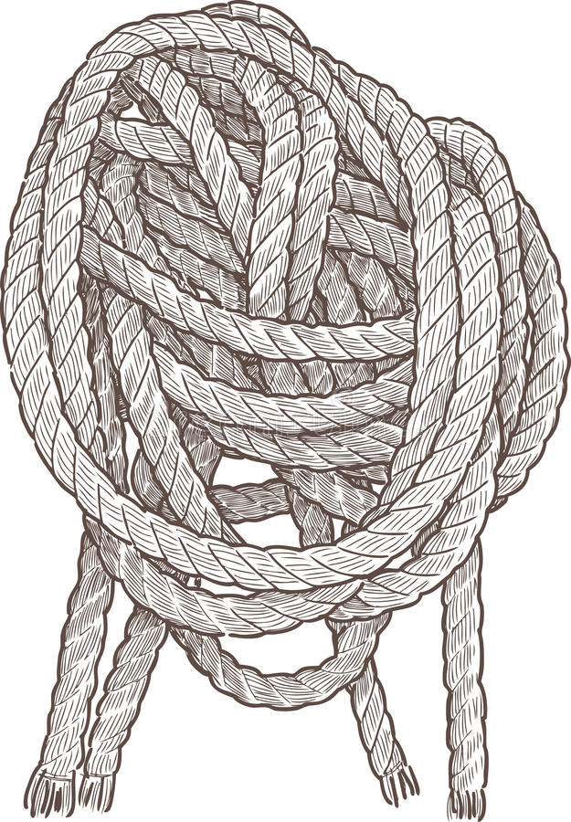 Cordage. Vector drawing of the fragment of the vessel cordage vector illustration